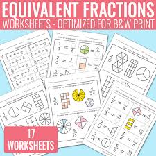 equivalent fractions worksheets fractions unit easy peasy learners