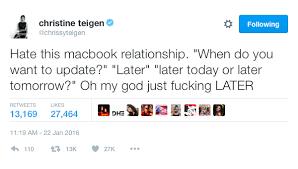 Funniest Thanksgiving Tweets Chrissy Teigen U0027s Funniest Tweets Of 2016