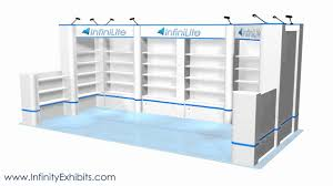 20ft multi 8 section shelf trade show display with short wall and