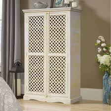 farmhouse armoire white solid wood lattice door armoire