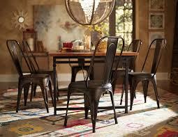 amara pcs rustic industrial wood dining table set metal chairs