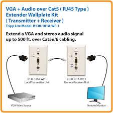 amazon com tripp lite vga with audio over cat5 cat6 extender