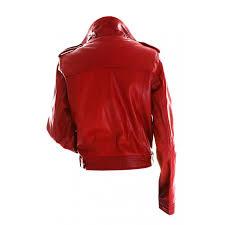 women biker slim fit red leather jacket