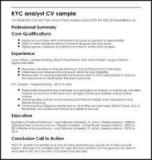 Credit Analyst Resume Sample by Kyc Analyst Cv Sample Myperfectcv