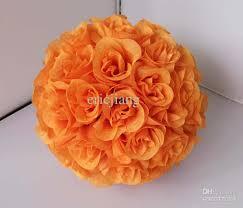 Flower Ball 2017 Artificial Silk Kissing Rose Flower Ball Orange Color 25cm