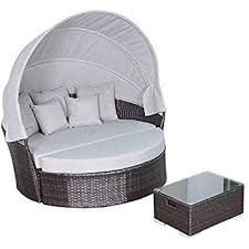 Amazoncom  Anself In Poly Rattan Sofa Sunbed Round Outdoor - Round outdoor sofa 2
