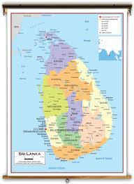 Sri Lanka On World Map by Sri Lanka Political Educational Wall Map From Academia Maps