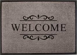 Bonjour Doormat Easy Clean Grey Welcome Doormat Small Eclectic Door Mats By