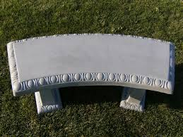 Concrete Curved Bench - geoform stonelements curved bench with block legs in natural stone