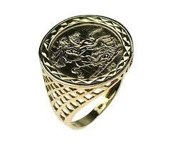 mens gold ring st george ring mens gold ring mens sovereign ring mens