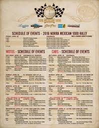 Ensenada Mexico Map by Norra Rally Alert The Official 2016 Mexican 1000 Schedule Of
