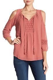 swiss dot blouse dr2 by daniel rainn cold shoulder crochet and swiss dot blouse