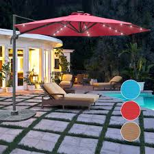 Lighted Patio Umbrella Solar Powered 32 Led Lighted Outdoor Patio Umbrella With Crank And