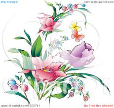 butterfly clipart spring flower pencil and in color butterfly
