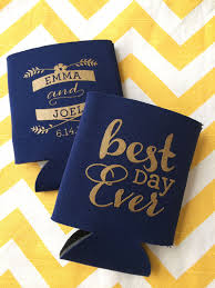 wedding koozies best day script wedding koozies by rookdesignco on etsy