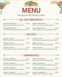 sample menu template restaurant menu template with chef free