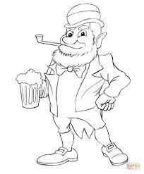 leprechaun with beer coloring page free printable coloring pages