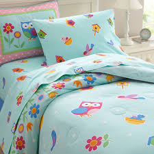 blue pink owl bedding for girls twin full queen comforter set