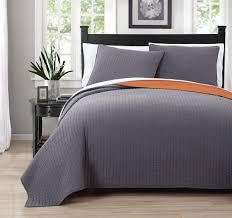 King Size Quilt Sets 3 Piece Project Runway Gray Orange Quilt Set