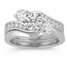 three ring wedding set three swirl wedding set with channel setting shane co