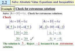 solving absolute value equations with extraneous solutions