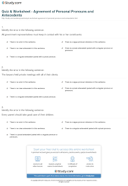 quiz u0026 worksheet agreement of personal pronouns and antecedents