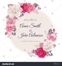 wedding invitation cards rosesbeautiful white pink stock vector