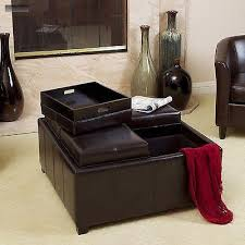 new brown 4 tray top leather ottoman storage table center bench
