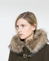 duffle coat with fur trimmed hood from zara style pinterest