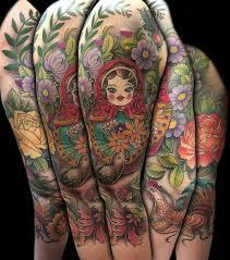 colorful russian folk art 3 4 sleeve by david mushaney tattoos
