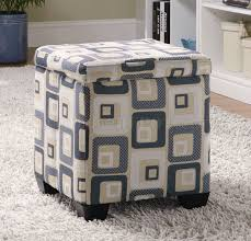 grid fabric modern square storage ottoman w wood legs