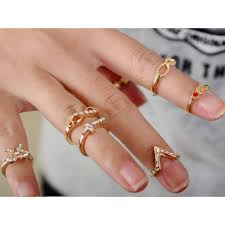 midi ring set pave glam bow infinity geo chevron midi knuckle stack ring set
