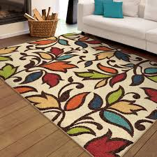 5 X 8 Area Rugs by Orian Rugs Indoor Outdoor Dicarna Cream Leaves Area Rug Walmart Com