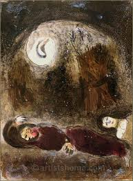 marc chagall ruth at the feet of boaz original lithograph bible