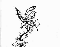 lovely butterfly with hibiscus flower design tats