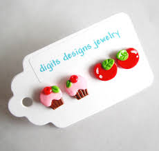 polymer clay stud earrings earrings cupcake and cherries handmade polymer clay button post