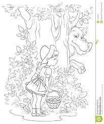 little red riding hood and wolf colouring page stock illustration