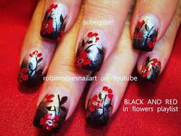 nail art black gradient with red flower nails gothic nail design
