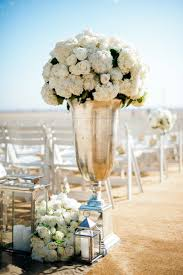 ceremony décor photos silver urn with ivory blooms u0026 lanterns