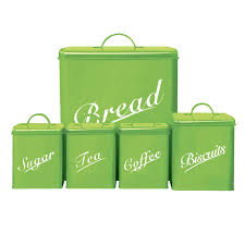 kitchen canister storage set five piece bread sugar tea coffee