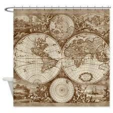 World Map Fabric Shower Curtain Antique World Map Fabric Shower Curtain Vintage Map Travel