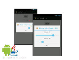 android popup seekbar in alert dialog popup
