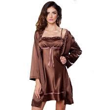 robe de chambre en satin pour femme irall peignoir satin à fleurs et marron chocolate
