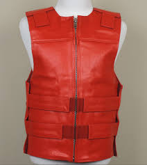 motorcycle vest red leather bulletproof style motorcycle vest