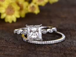 2 wedding rings 2 carat princess cut moissanite engagement ring set diamond