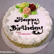 write name on birthday flower decoration cake