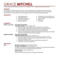food service resume simple food service specialist resume exle livecareer