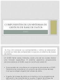 componentes de un sistemas de gestion de base