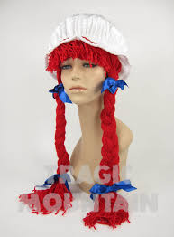 Raggedy Ann Costume Raggedy Ann Wendy U0027s Red Yarn Hair Wig Braids Bows Bonnet Costume