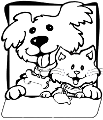 color dogs and cats cute cat and dog coloring pages printable dogs
